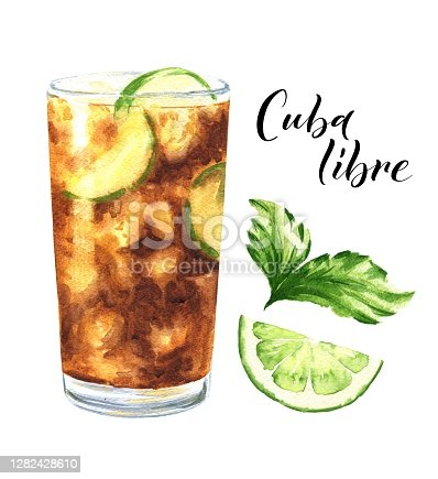 istock Watercolor Cuba libre alcohol cocktail isolated on white background. Hand drawn drink illustration. 1282428610