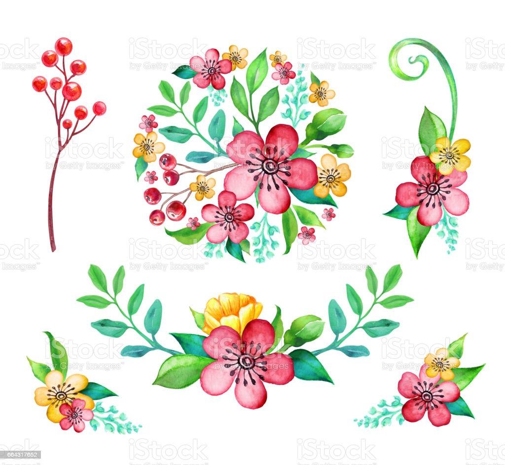 Watercolor Cute Floral Illustration Set Round Bouquet Garland Corner Border