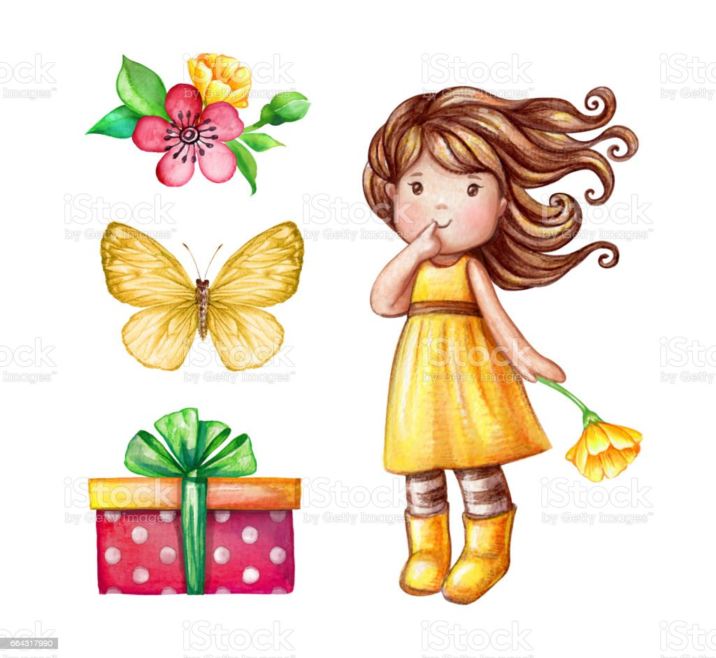 watercolor cute girl illustration, baby doll, little princess, floral bouquet, wrapped gift box, birthday party design elements set isolated on white background, festive clip art vector art illustration