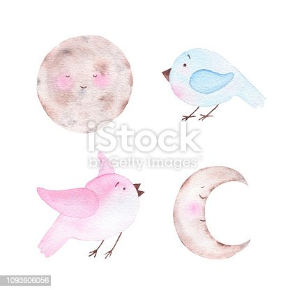Watercolor cute moon crescent celestial body and birds isolated on white background. Kid illustration