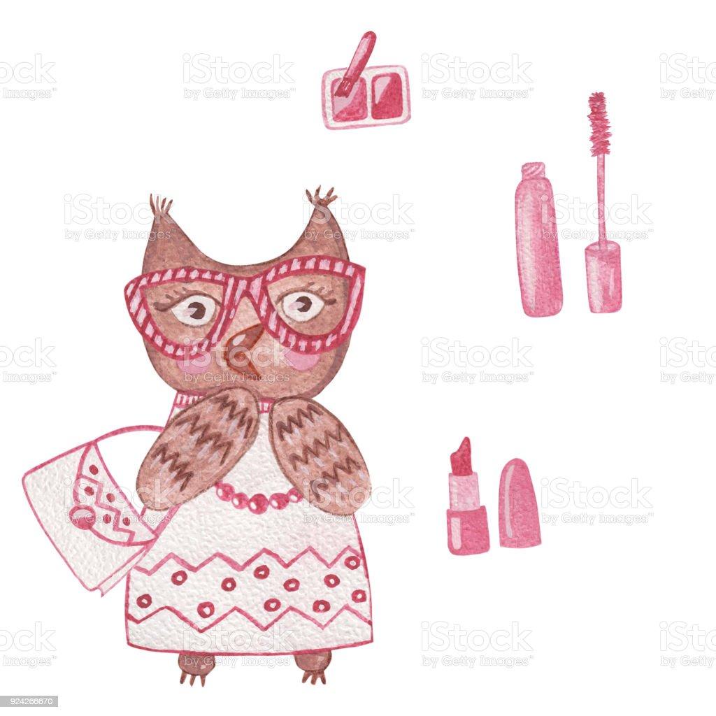 Sulu Boya şirin Baykuş Kız Makyaj Araçları Göz Farı Ruj Ile Stok