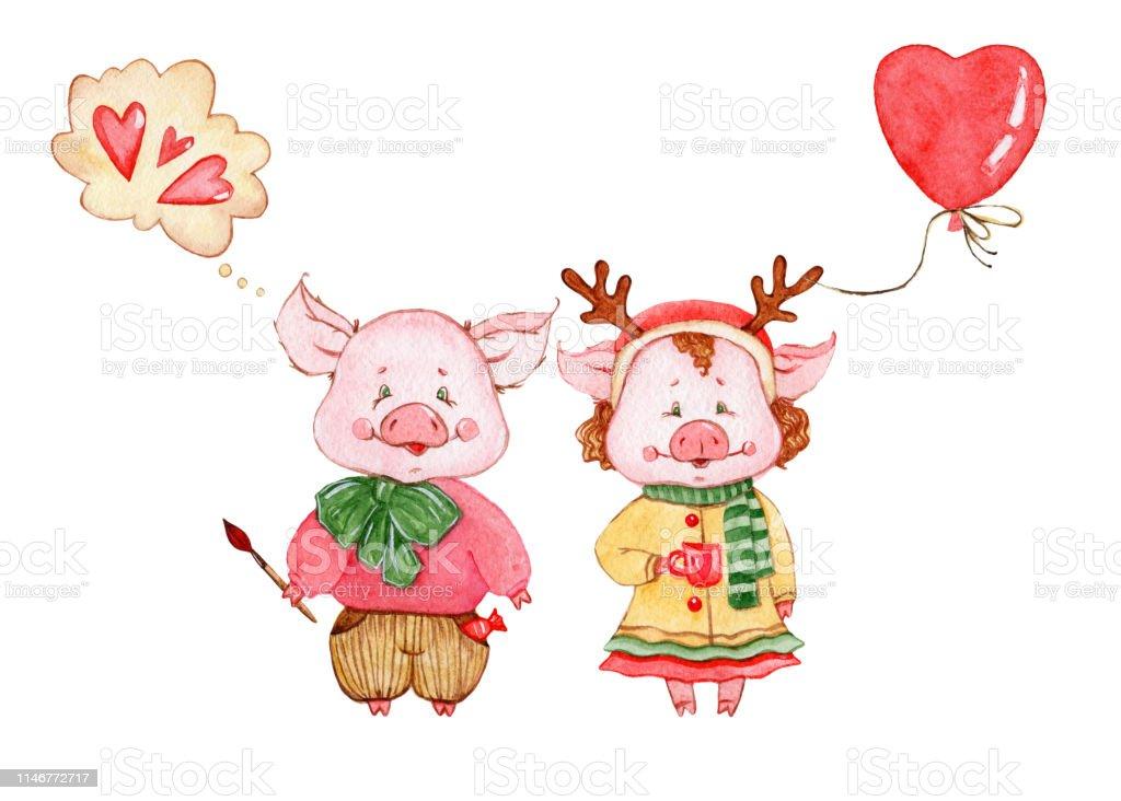 Ilustración De Acuarela Lindos Cerdos Personajes Dibujos