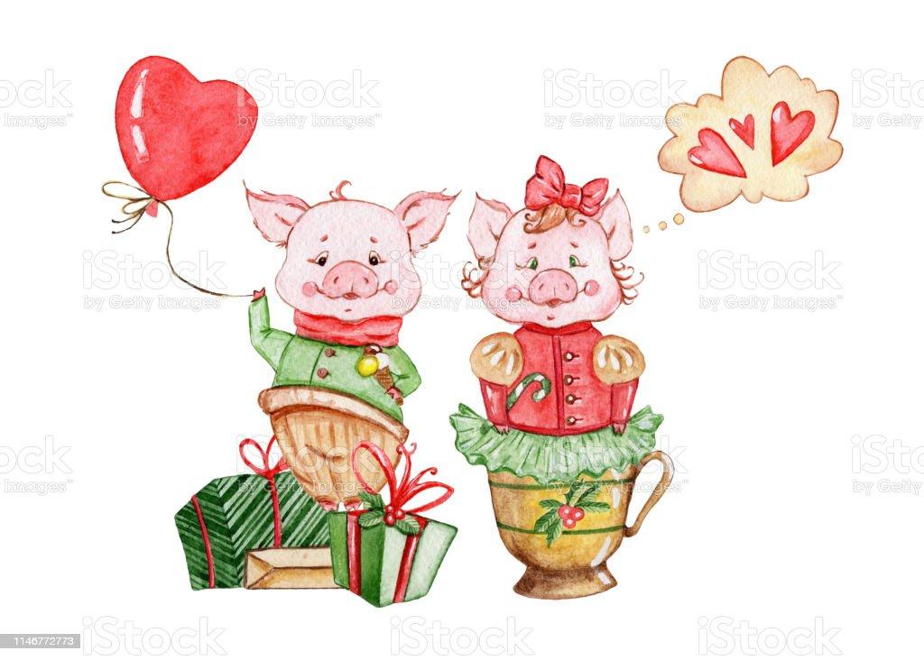 Watercolor Cute Pigs Characters Cartoon Little Piggy