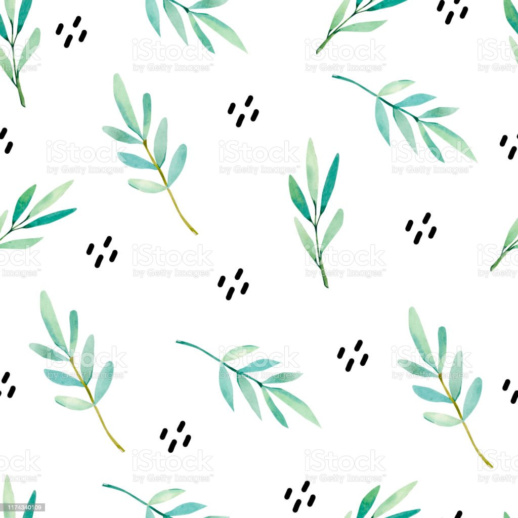Watercolor Cute Seamless Pattern Watercolor Hand Painted Leaves ...