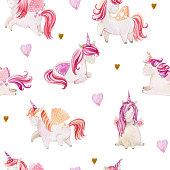 istock Watercolor cute unicorns 1282658112