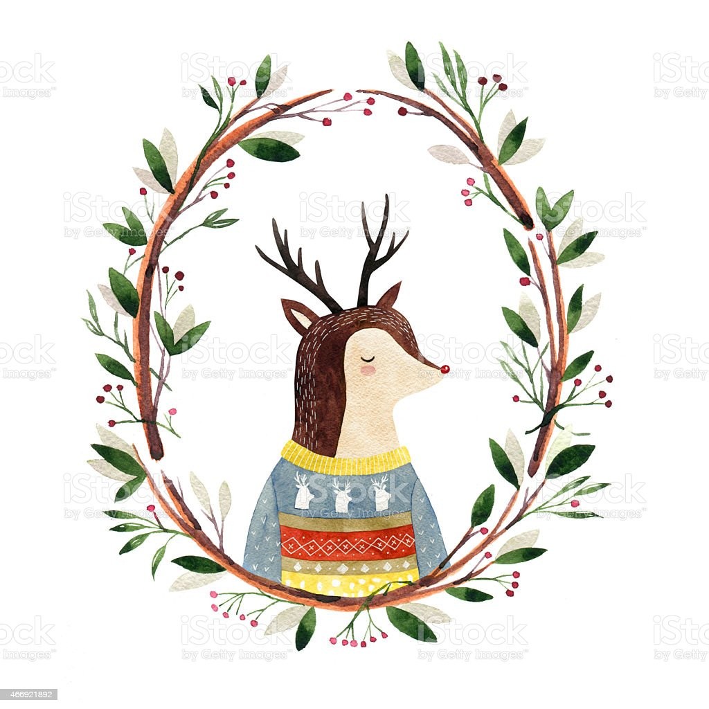 Watercolor Deer In A Floral Frame Stock Vector Art & More Images of ...