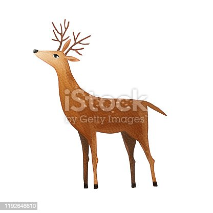 istock Watercolor deer isolated on white background 1192646610