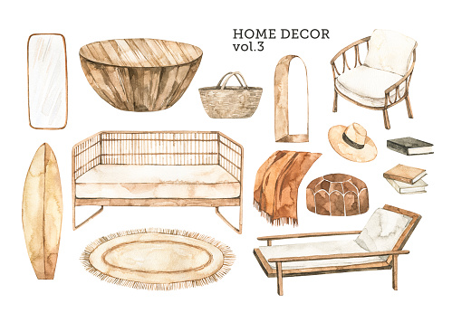 Watercolor design elements of modern interior items. Marrocco vibes. Home decor: wicker sofa, wicker chair, wooden table, arc window, rug, books. Perfect for your own projects, posters, prints, magazine, cards
