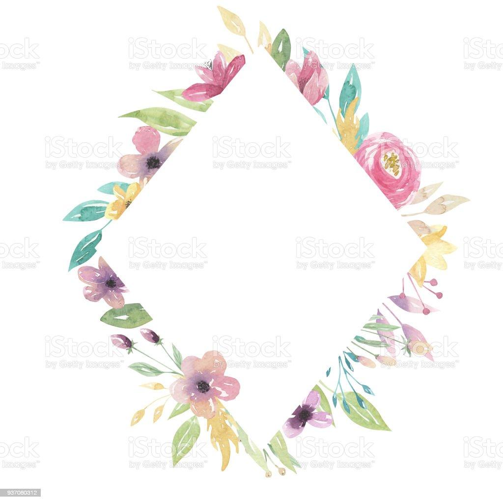 Watercolor Diamond Florals Pink Purple Flowers Frame Border Pretty