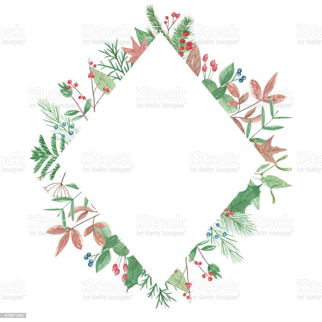 Acuarela De Diamante Marco Frontera Invierno Navidad Festiva Bayas ...