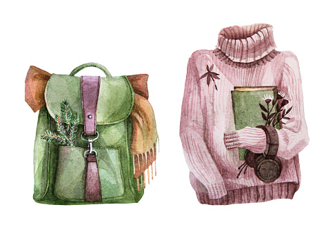 Watercolor drawing green backpack leather bag, scarf, sweater with a book and headphones isolated on white background. Camping in the forest. Autumn art creative object for stiker, card, wrapping