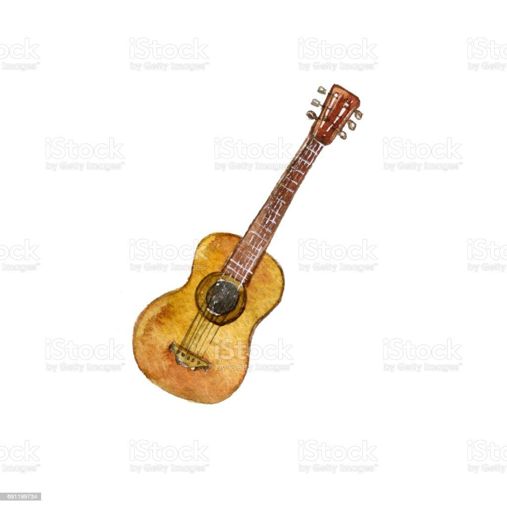 Aquarell Zeichnung Gitarre Stock Vektor Art und mehr Bilder von ...