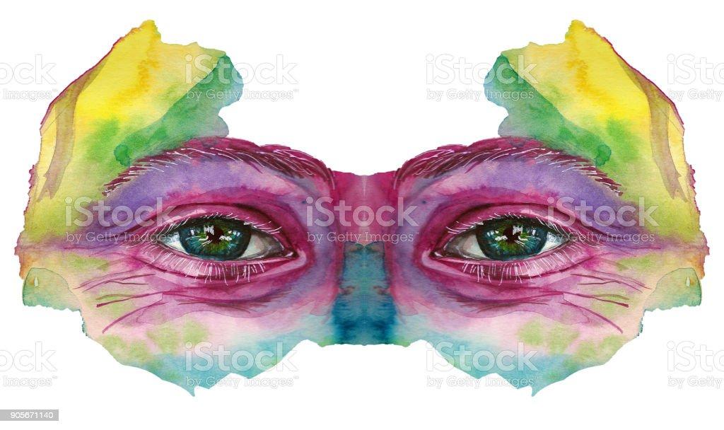 Bir Adamın Başkanı çizim Suluboya Bulaşmış Boya çok Renkli Yüzü