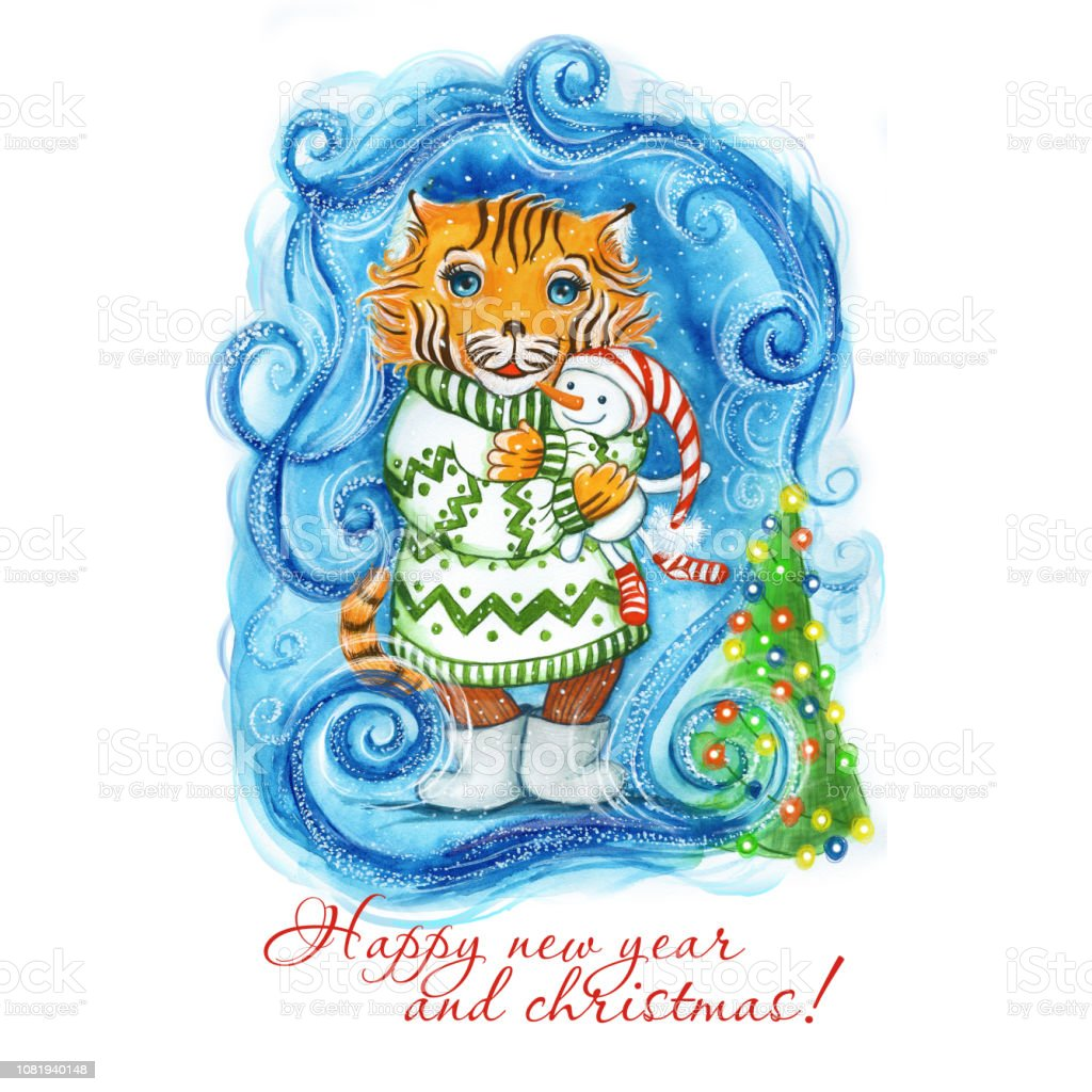 Watercolor drawing of a New Year's Christmas tiger in a green sweater and with a toy, a snowman in hand, next to the tree with a garland, it is snowing around and snowflakes on a blue background, frosty patterns, for decor vector art illustration