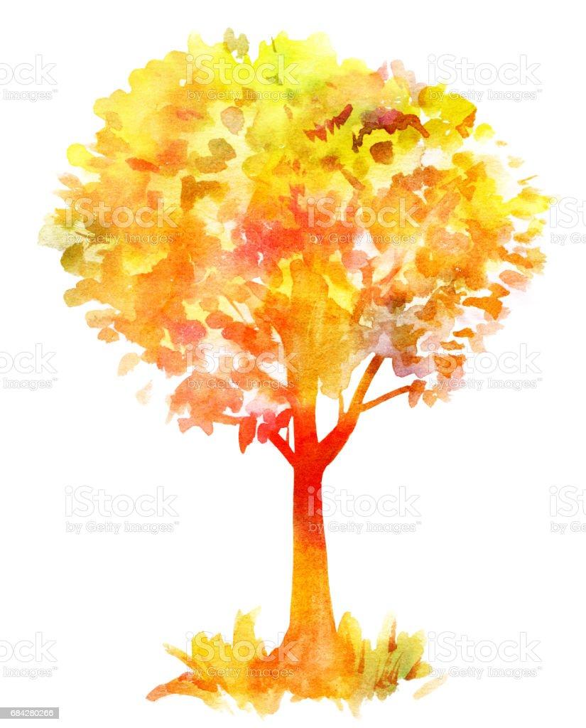 Sonbahar Ağacı Altın Suluboya çizimi Tonda Beyaz Stok Vektör Sanatı