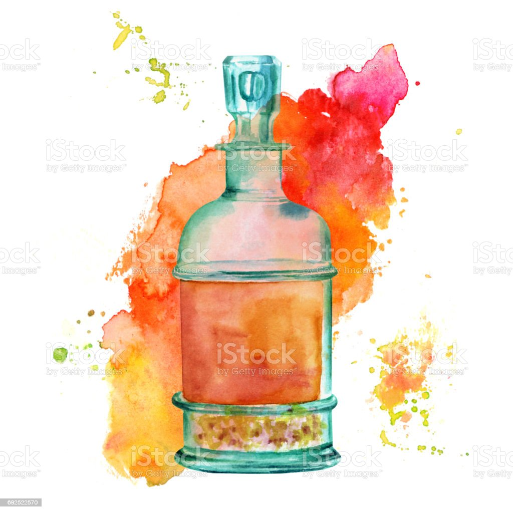 Watercolor Drawing Of Beautiful Vintage Bottle With Texture Royalty Free Stock Vector Art