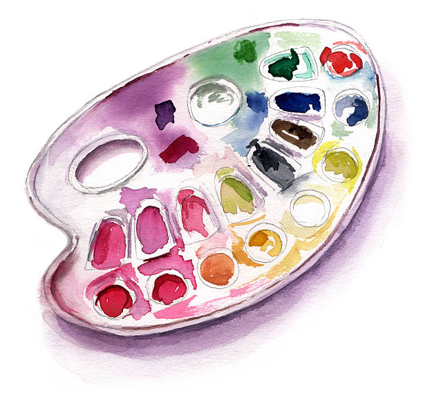 Watercolor Drawing Of Palette On White Background Vector Art Illustration