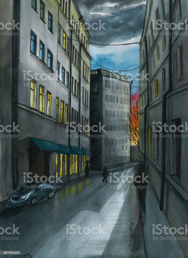 Watercolor drawing of the city landscape, decoration, background, in dark tones, high-rise buildings of the old city, windows, the road going into the distance, the street at dusk, after the rain, the dark silhouettes of passers-by, sunset, colorful cloud vector art illustration