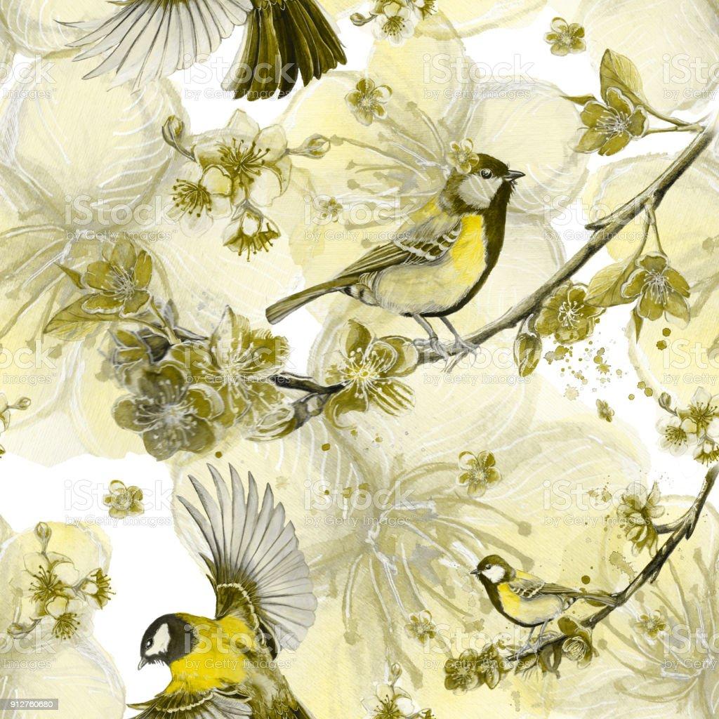 Bahar Konulu Dikissiz Desen Cizimi Sulu Boya Isi Resimde Bir Kus