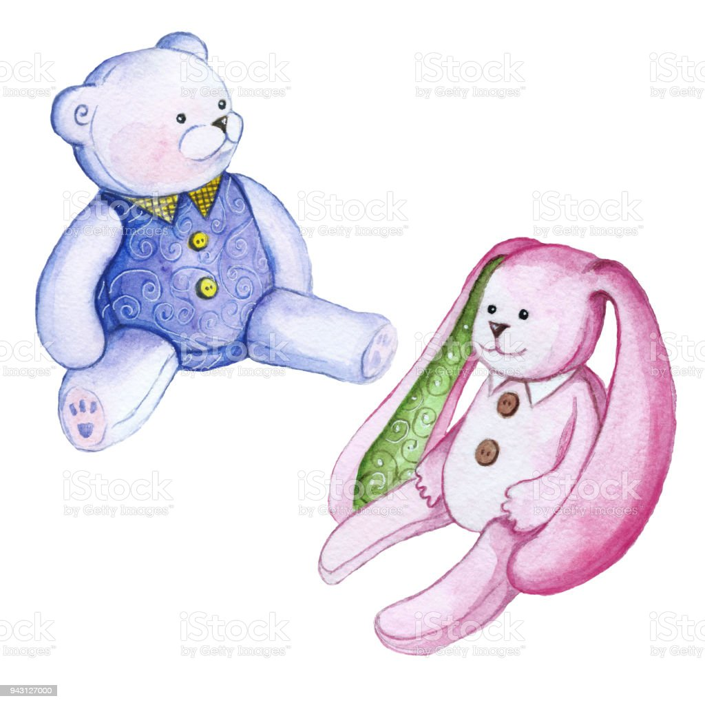 Watercolor Drawing Set Of Plush Toys Teddy Bear And Bunny Pink