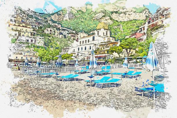 illustrazioni stock, clip art, cartoni animati e icone di tendenza di watercolor drawing  small town of amalfi famous landmark of italy, sorrento, italy. - amalfi