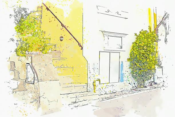 bildbanksillustrationer, clip art samt tecknat material och ikoner med akvarell ritning liten stad amalfi berömda landmärke i italien, sorrento, italien. - amalfi