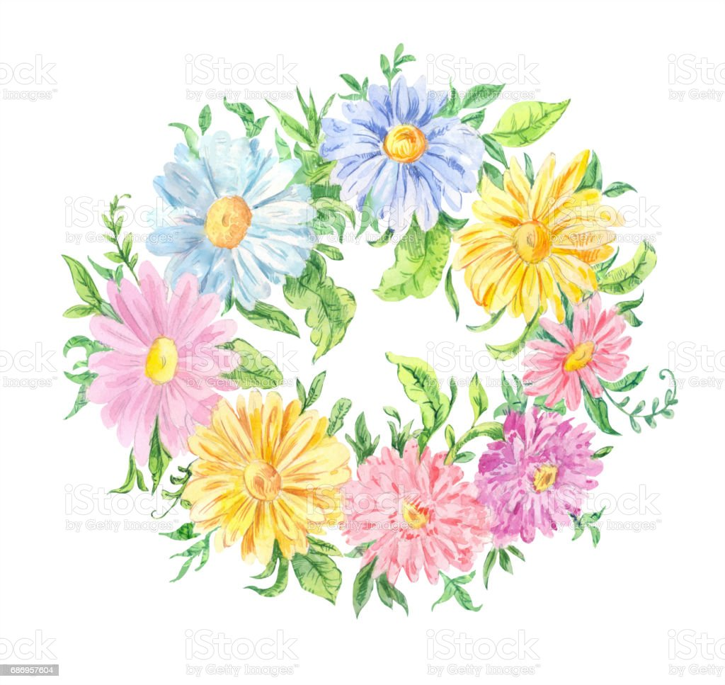 Dessin Aquarelle Couronne De Fleurs Roses Bleus Et Jaunes Cliparts