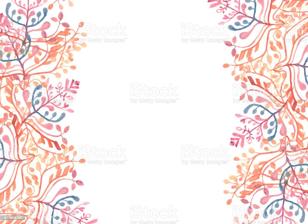 Watercolor dried forest twigs and leaves vector art illustration