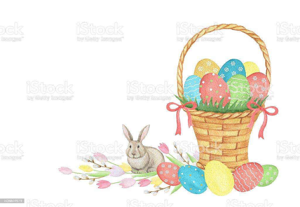 Flower Baskets Vector : Watercolor easter basket stock vector art istock