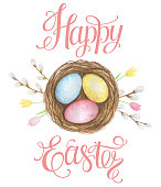Watercolor Easter nest with eggs and a wreath of flowers and branches on a white background. Design element for greeting cards, note cards and invitations.