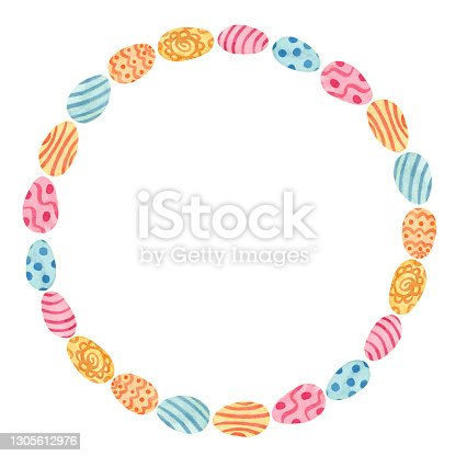 istock Watercolor Easter round frame with eggs decorated with patterns. 1305612976