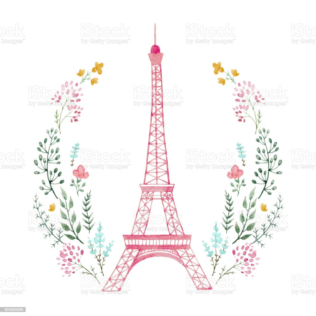 watercolor eiffel tower stock vector art amp more images of