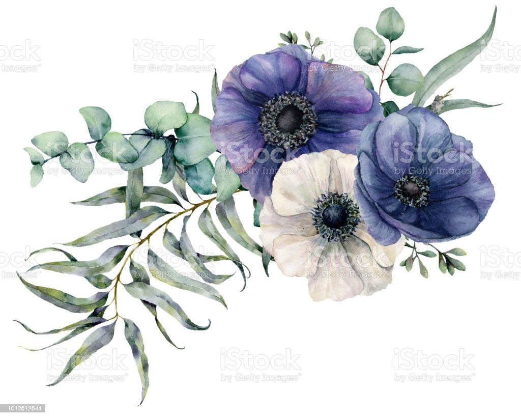 Watercolor elegant bouquet with anemone hand painted blue and white watercolor elegant bouquet with anemone hand painted blue and white flowers eucalyptus leaves and izmirmasajfo