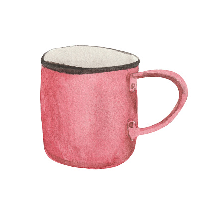 Watercolor element on white background, camping mug.
