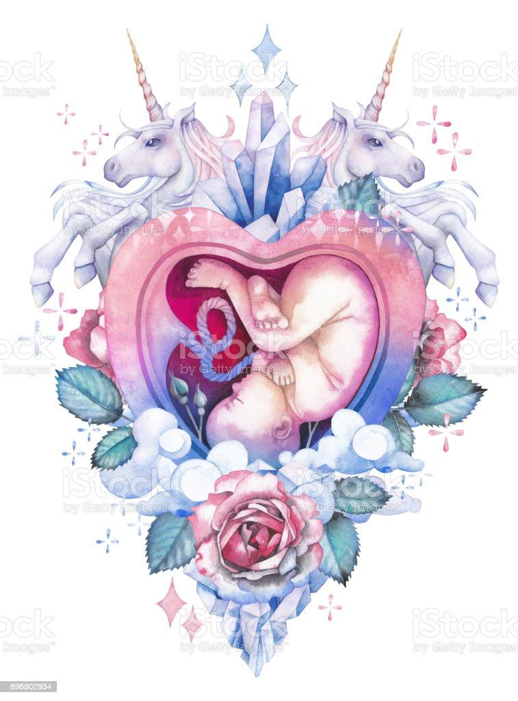 Acuarela embrión dentro del útero con adornos de fantasía - ilustración de arte vectorial