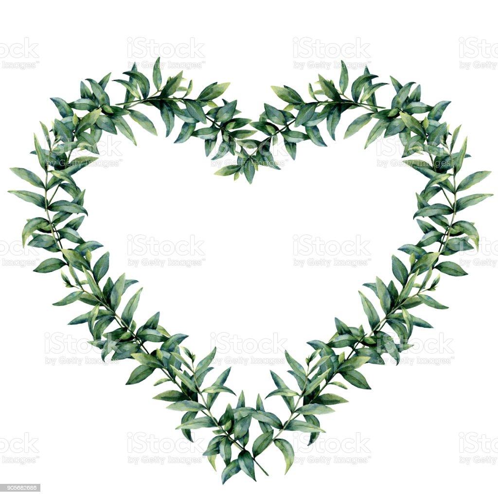 guirlande de coeur aquarelle eucalyptus frontière avec branche
