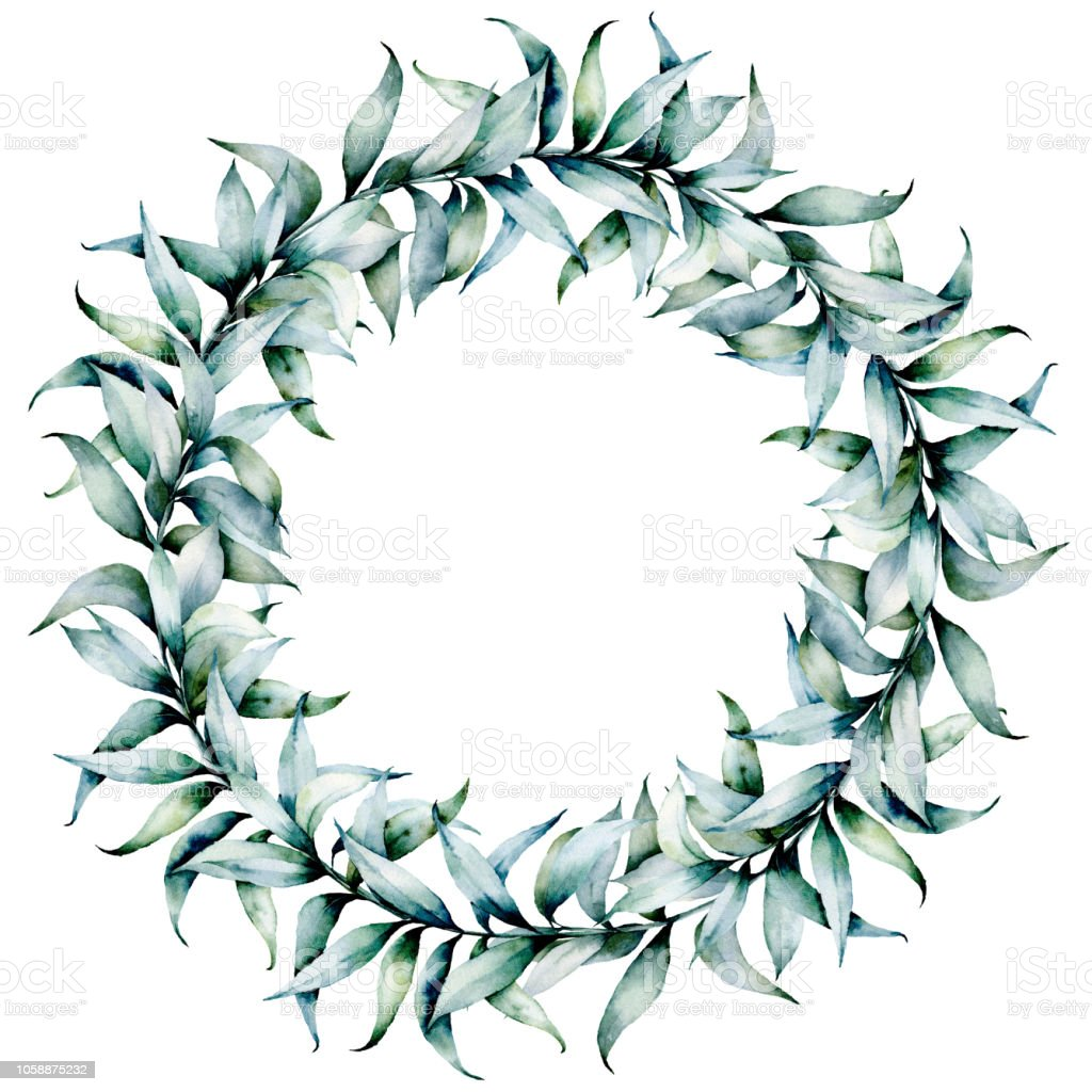 couronne deucalyptus aquarelle guirlande de noël avec branche