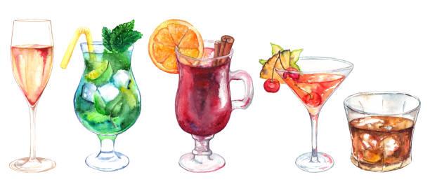 ilustraciones, imágenes clip art, dibujos animados e iconos de stock de acuarela exótico cóctel de alcohol bebidas conjunto aislado - cóctel