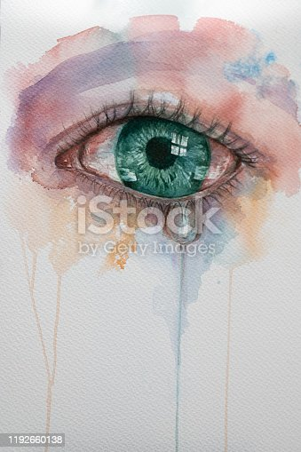 istock watercolor eye with tears. 1192660138
