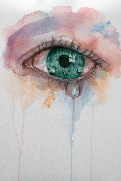 watercolor eye with tears. Beautiful watercolor illustration with crying green eyes and drop tear. teardrop stock illustrations