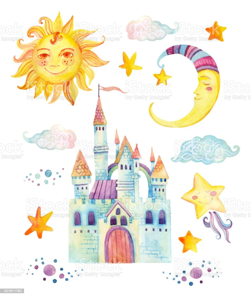 watercolor fairy tale collection with magic castle sun moon star