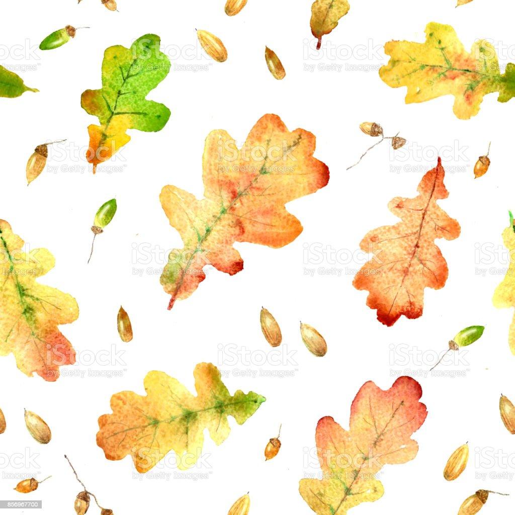 Watercolor fallen oak leaves hand drawn seamless pattern vector art illustration