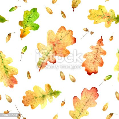 Watercolor Fallen Oak Leaves Hand Drawn Seamless Pattern Stock Vector Art & More Images of Acorn 856967700