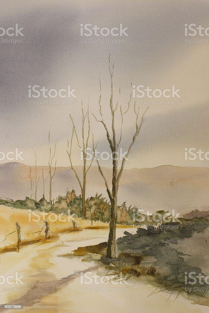 Watercolor: 'Farm road' royalty-free stock vector art