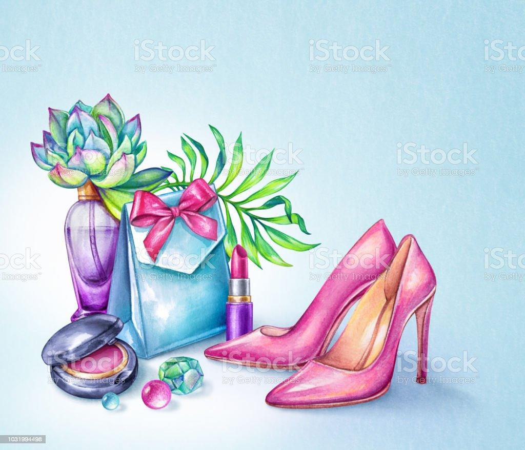 cb3d2f36fdd akvarell fashion illustration, skönhet bloggare tillbehör, rosa högklackade  skor, gåva, kosmetika,