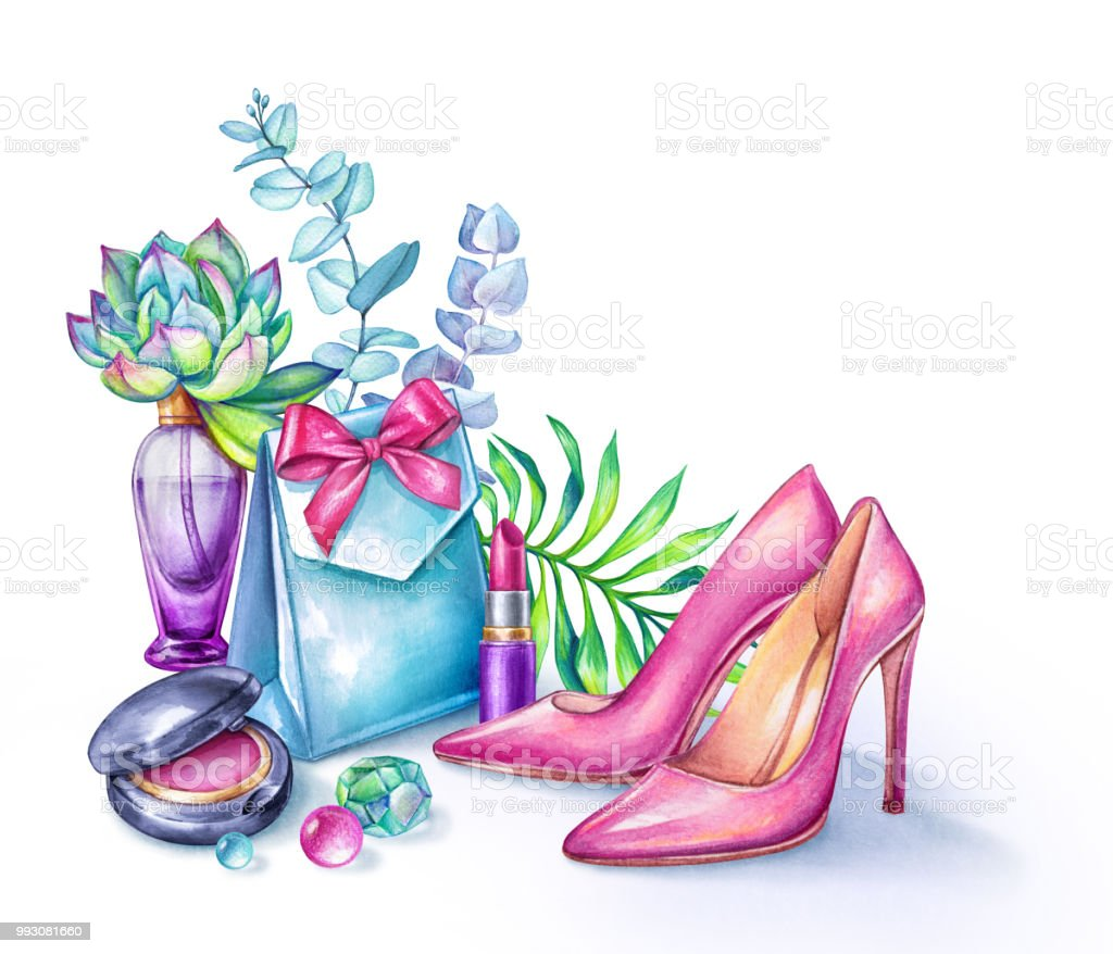 Watercolor Fashion Illustration Beauty Blogger Accessories Pink High