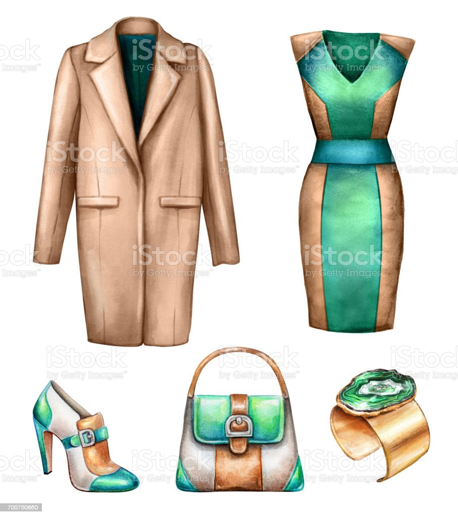 Watercolor Fashion Illustration Dress Coat Bag Shoe Wardrobe Elements Green Brown Palette Modern Lady Outfit Design Elements Woman Clothes Clip Art Isolated On White Background Stock Illustration Download Image Now Istock