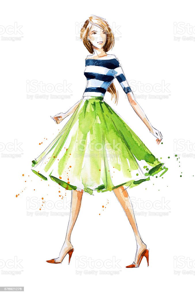 Watercolor fashion illustration, hand painted - ilustración de arte vectorial