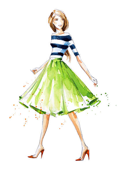 watercolor fashion illustration, hand painted - prom fashion stock illustrations, clip art, cartoons, & icons