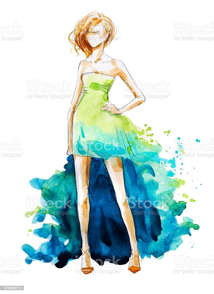 Watercolor fashion illustration, hand painted vector art illustration